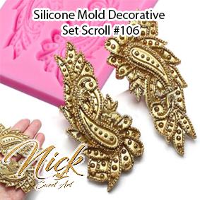 Silicone Mold Decorative Set Scroll #106